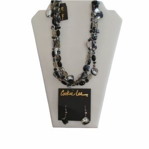 """5/$35 17"""" Adjustable 3 Strand Necklace & Earrings"""